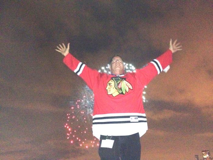 Glenn Duncan, PSI, Inc. - Blakhawks Raffle Winner Celebrates in Style